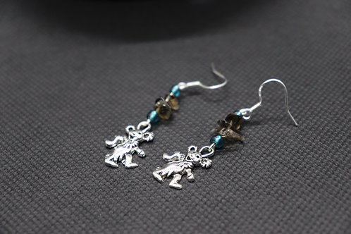 Smoky Quartz Dancing Bear (6) - Earrings : French Hook Dangles