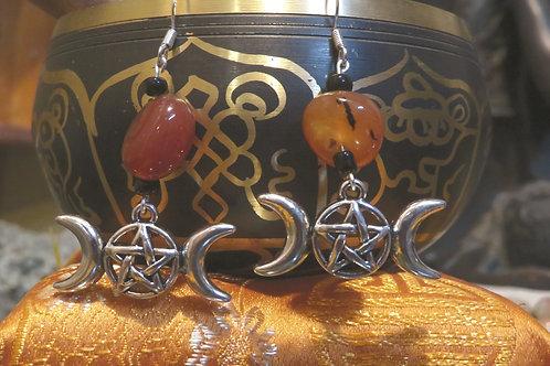 Orange Dyed Carnelian Nugget Triple Moon (4) - Earrings : French Hook Dangles