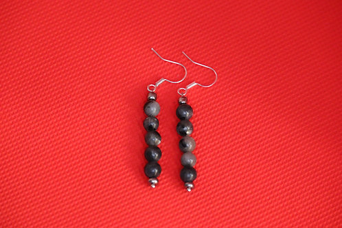 Larvikite Silver Glass (7) - Earrings : French Hook Dangles