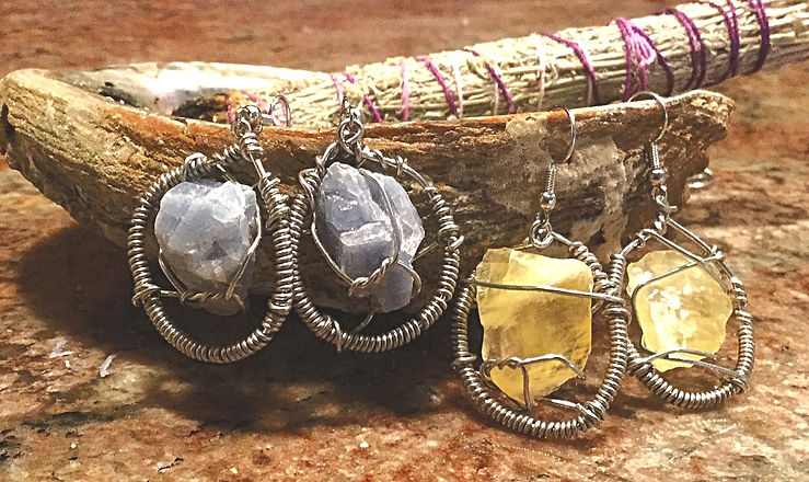 Wire Wrapped Blue Calcite Stone Hoops (1) & Wire Wrapped Yellow Citrine Stone Hoops (1)