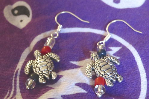 Large Sea Turtle (5) - Earrings : French Hook Dangles