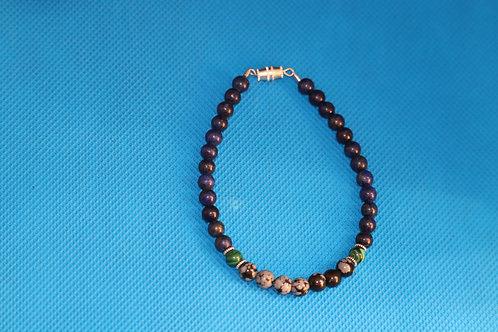 Lapis Lazuli Snowflake Obsidian Simulated Malachite (37) - Bracelet : Beaded