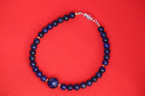 Lapis Lazuli Gold Glass (37) - Bracelet : Beaded