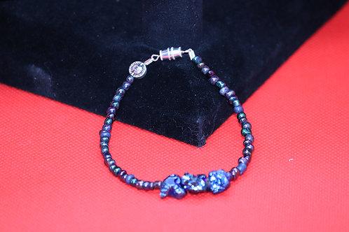 Blue Chalcopyrite Nugget Multi Color Glass (58) - Bracelet : Beaded