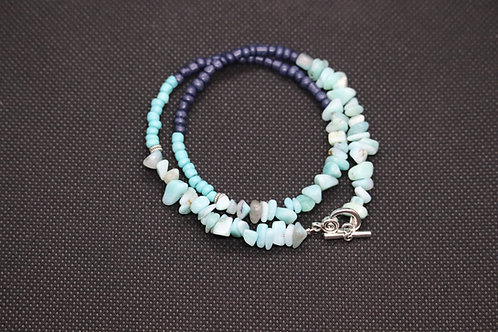 Amazonite Chip Blue & Turquoise Glass Double Wrap (124) - Bracelet : Beaded