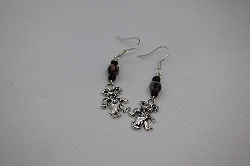 Rhodonite Dancing Bear (4) - Earrings : French Hook Dangles