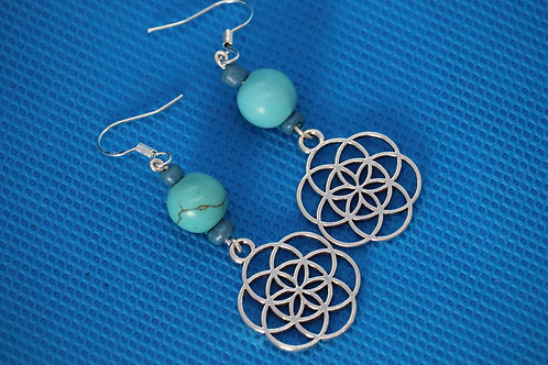 Turquoise Dyed Howlite Seed Of Life (4) - Earrings : French Hook Dangles