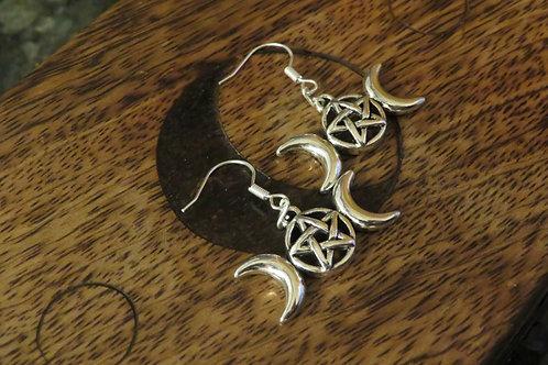 Triple Moon (1) - Earrings : French Hook Dangles