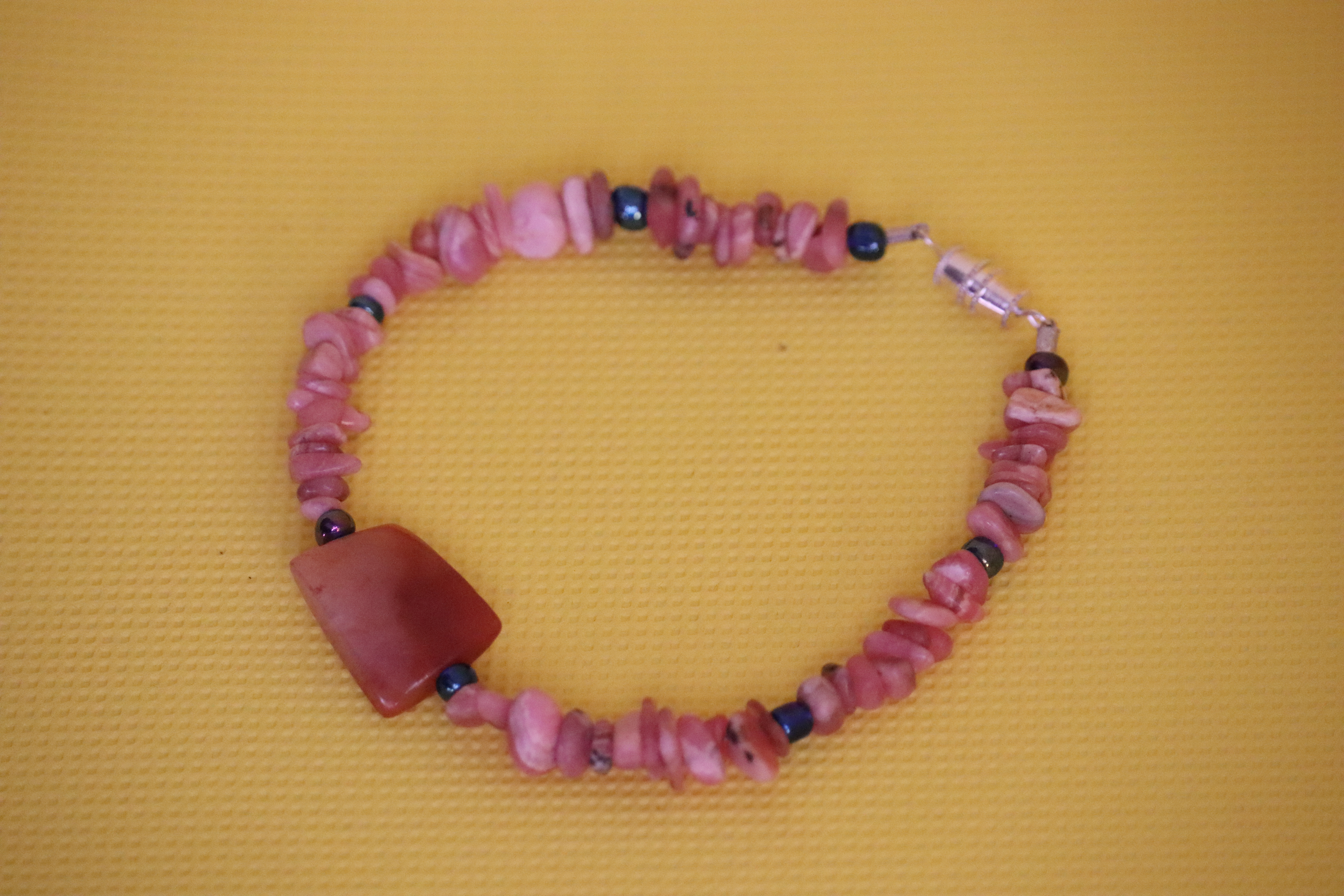 Rhodochrosite Chip Orange Carnelian Square (73) - Bracelet : Beaded
