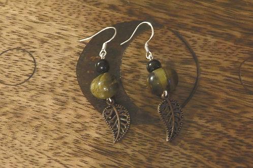 Tigers Eye Stone Nuggets Small Leaf (3) - Earrings : French Hook Dangles
