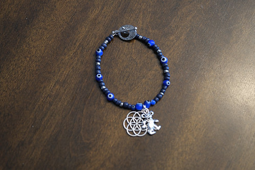 Evil Eye Dancing Bear Seed Of Life (52) - Charm Bracelet : Beaded