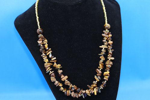 Tigers Eye Chip Gold Glass (254) - Necklace : Beaded (2-Strand)