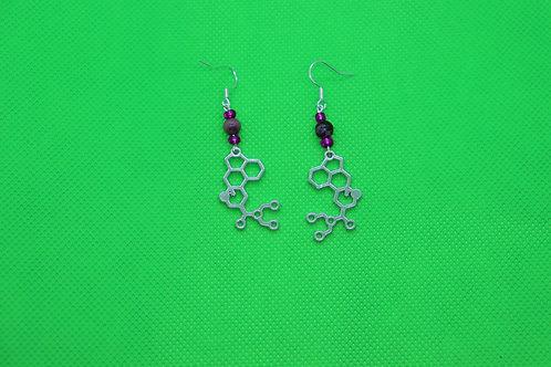 Rhodonite LSD Molecule (4) - Earrings : French Hook Dangles