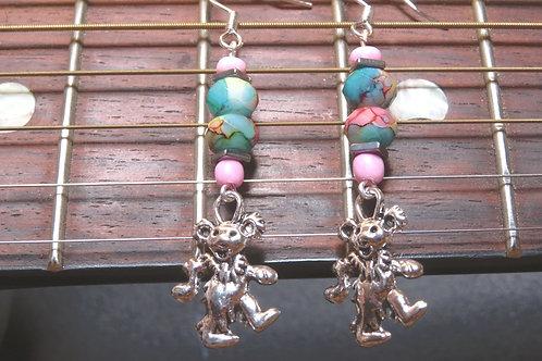 Hematite Square Painted Glass Dancing Bear (7) - Earrings : French Hook Dangles