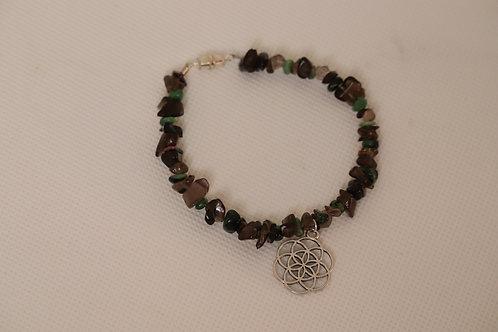 Smoky Quartz Ruby Zoisite Chip Seed Of Life (63) - Charm Bracelet : Beaded