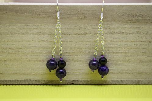Black Tourmaline Purple Agate (7) - Earrings : French Hook Dangles