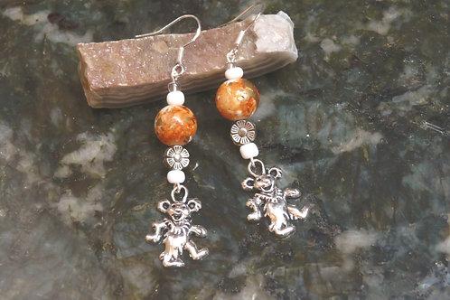 Ceramic Printed Orange Swirl Dancing Bear (6) - Earrings : French Hook Dangles
