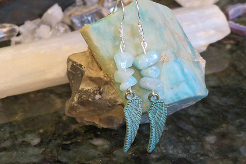 Amazonite Stone Antiqued Metal Wing (4) - Earrings : French Hook Dangles