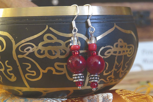 Red Dyed Quartzite (6) - Earrings : French Hook Dangles