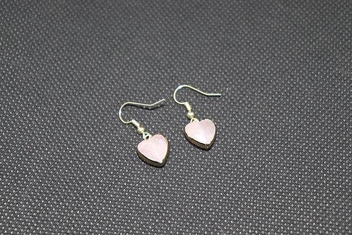 Gold Coated Rose Quartz Heart (1) - Earrings : French Hook Dangles