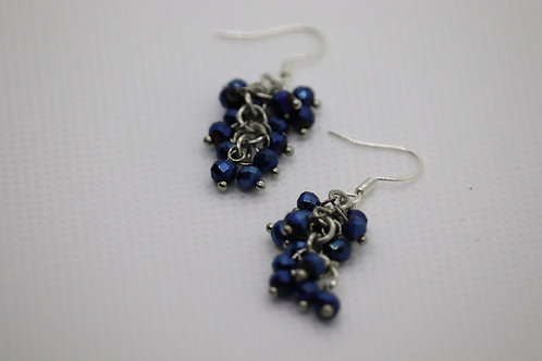 Blue Iris Glass (7) - Earrings : French Hook Dangles