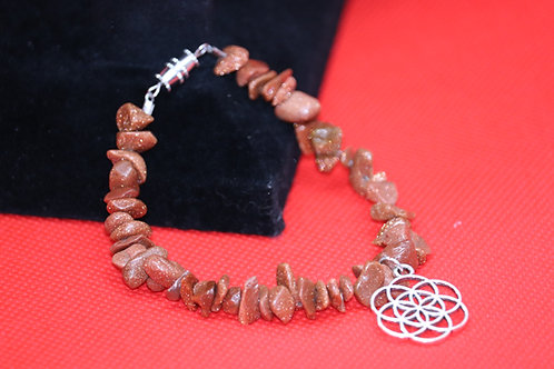 Goldstone Seed Of Life (51) - Charm Bracelet : Beaded