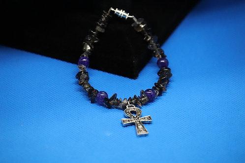 Smoky Quartz Purple Dyed Agate Ankh (59) - Charm Bracelet : Beaded