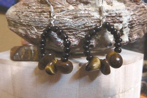 Tigers Eye Black Glass Hoops (17) - Earrings : French Hook Dangles
