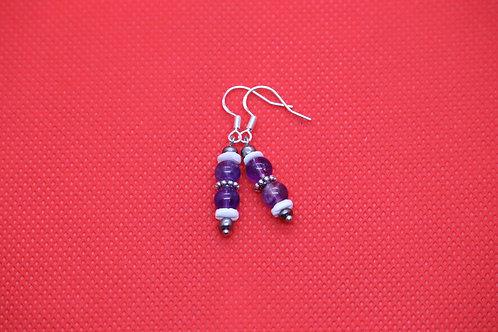 Amethyst White River Shell (7) - Earrings : French Hook Dangles