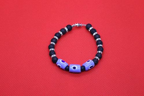 Evil Eye Black Lava Rock (31) - Diffuser Bracelet : Beaded