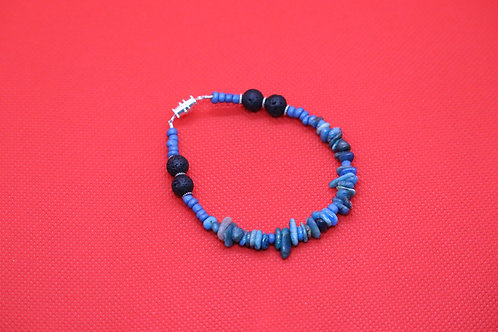 Blue Apatite Black Lava (72) - Bracelet : Beaded