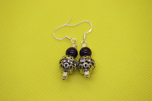 Purple Dyed Agate Silver Square (4) - Earrings : French Hook Dangles