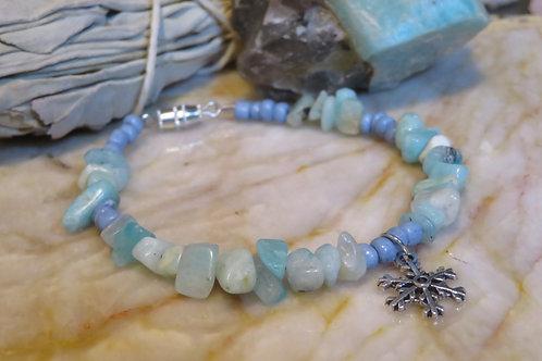 Amazonite Blue Glass Snowflake (53) - Charm Bracelet : Beaded