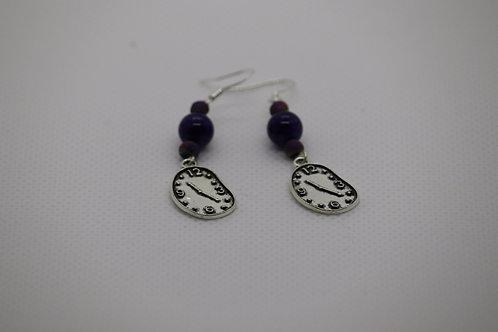 Purple Dyed Agate Melting Clock (4) - Earrings : French Hook Dangles