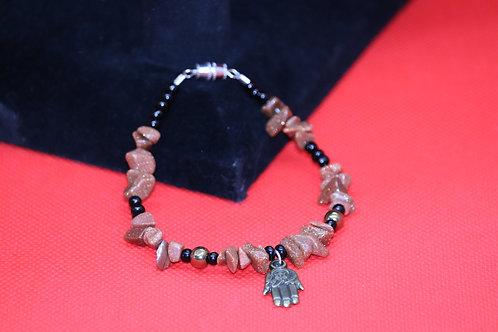 Goldstone Black Glass Hand (53) - Charm Bracelet : Beaded