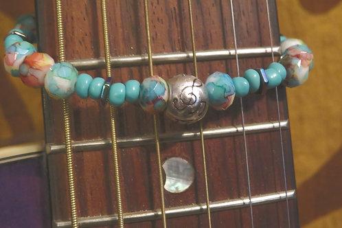 Multi Color Hematite Hexagon Painted Glass Musical (46) - Bracelet : Beaded