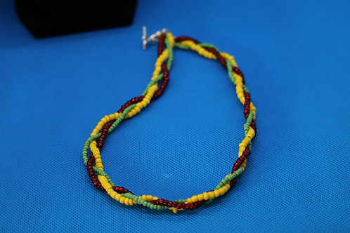 Red Yellow Green Rasta (559) - Braided Necklace : Beaded