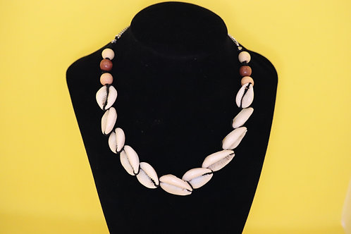 Large Cowrie Shell Wood Bead Wax Cord (17) - Necklace : Beaded