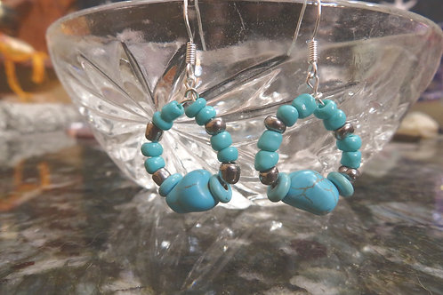 Turquoise Nugget & Glass Hoops (15) - Earrings : French Hook Dangles
