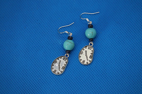 Turquoise Dyed Howlite Melting Clock (4) - Earrings : French Hook Dangles