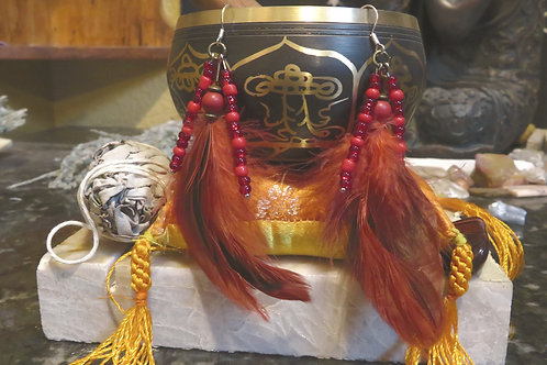 Red Glass Feather (29) - Earrings : French Hook Dangles