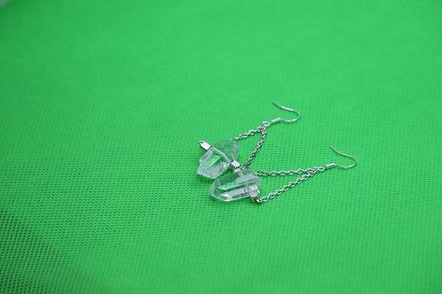 Crystal Quartz Silver Czech Glass Square (3) - Earrings : French Hook Dangles