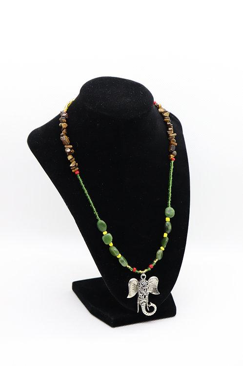 Green Jasper Tigers Eye Green & Gold Glass Elephant (177) - Necklace : Beaded