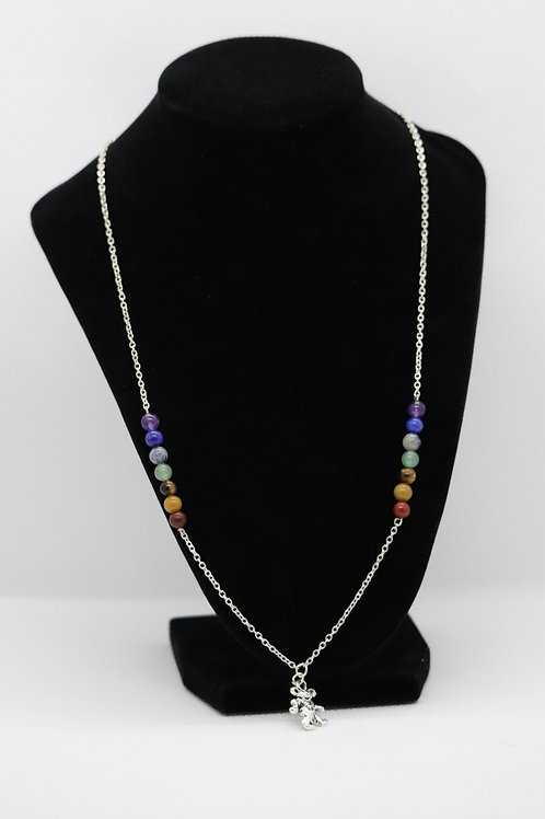 Chakra Dancing Bear Silver Chain (15) - Necklace : Beaded