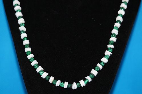 White River Shell Simulated Malachite (164) - Necklace : Beaded