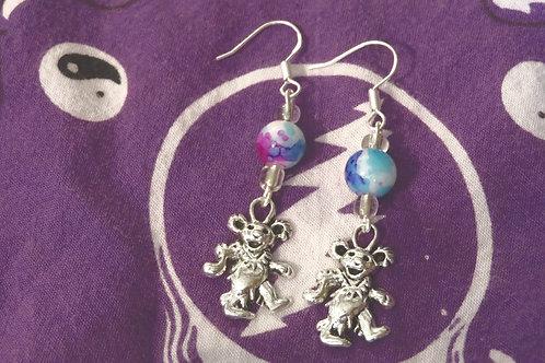 Water Color Dancing Bear (4) - Earrings : French Hook Dangles