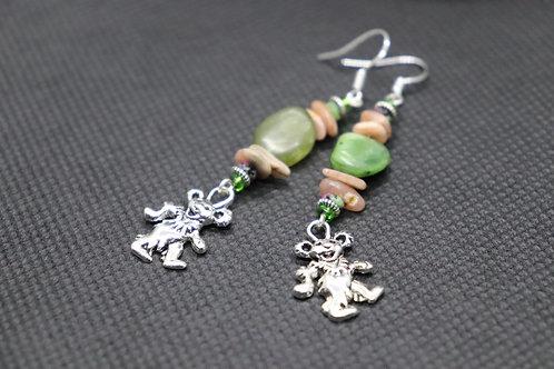 Green Jasper Rhodochrosite Dancing Bear (12) - Earrings : French Hook Dangles