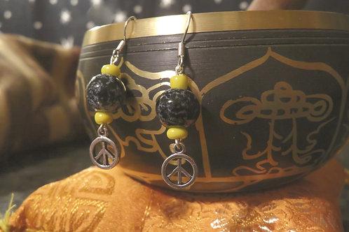 Black & Yellow Glass Mini Peace (4) - Earrings : French Hook Dangles