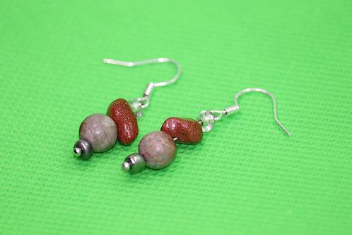 African Opal Jasper Goldstone (4) - Earrings : French Hook Dangles