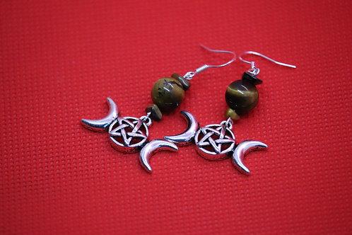 Tigers Eye Triple Moon (4) - Earrings : French Hook Dangles